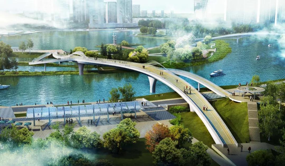 橹尾撬水道景观步行桥效果图