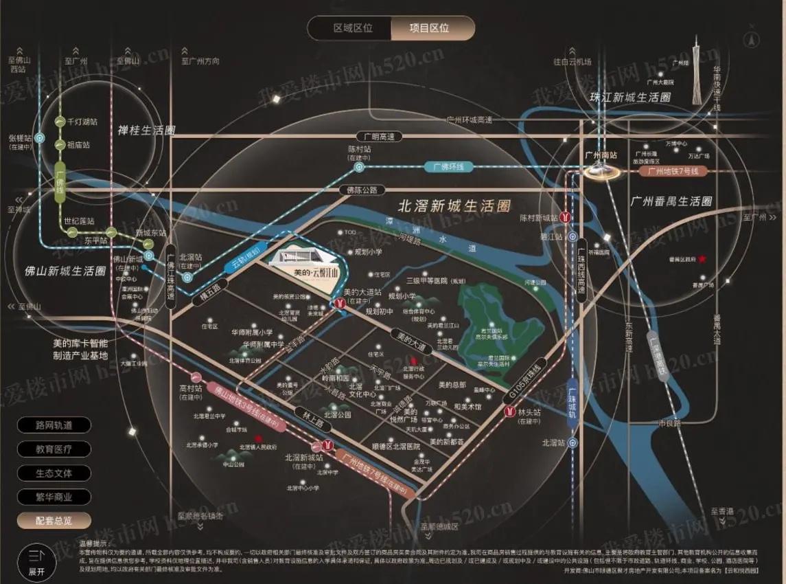 佛山新盘:美的云悦江山交通规划图