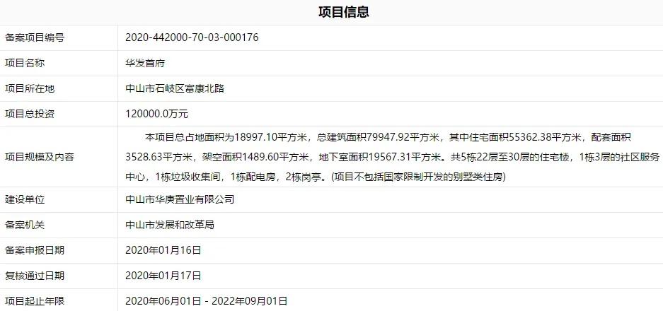 华发首府项目信息