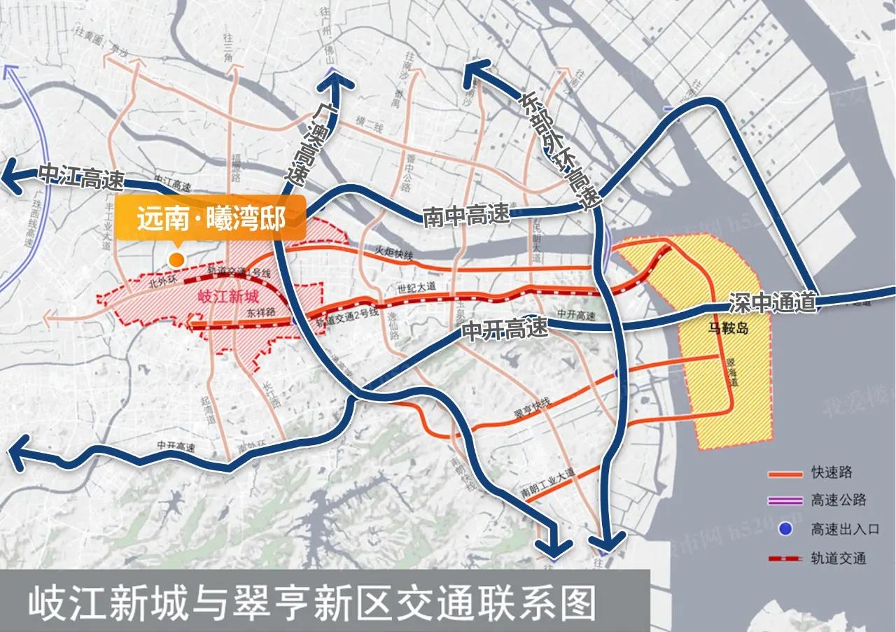 岐江新城多条高速+快速直连深中通道