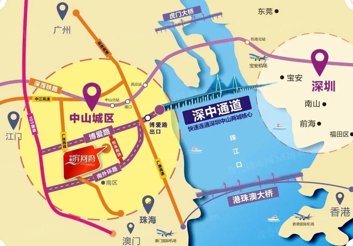 中澳滨河湾区位图