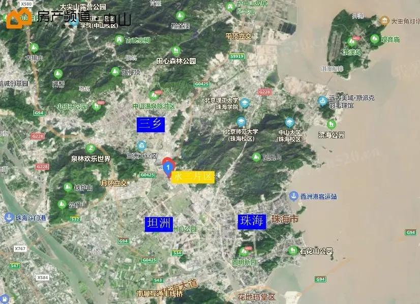 坦洲永二片区卫星图示
