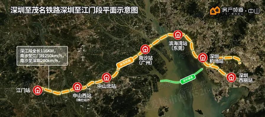 深茂铁路深圳至江门段平面示意图